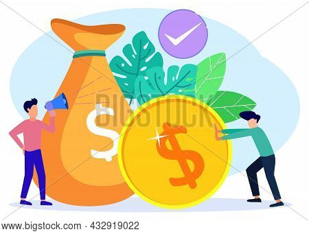 Vector Illustration Of Business Concept, Entrepreneur Pushing Dollar Coins, Fast Economic Growth And