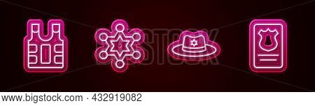Set Line Bulletproof Vest, Hexagram Sheriff, Sheriff Hat With Badge And Police Id Case. Glowing Neon