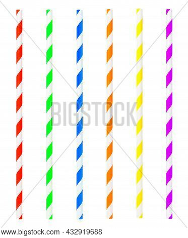 Colorful Drinking Straws Isolated On White Background.
