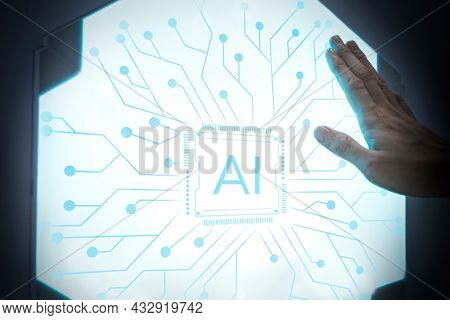 Futuristic AI technology microchip advanced innovation digital remix