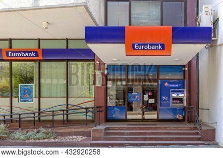 Belgrade, Serbia - August 08, 2021: Entrance To Eurobank Building In Belgrade, Serbia.