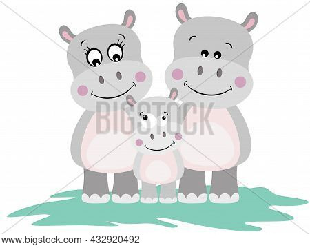 Scalable Vectorial Representing A Funny Hippo Family With Mum, Dad And Baby, Element For Design, Ill