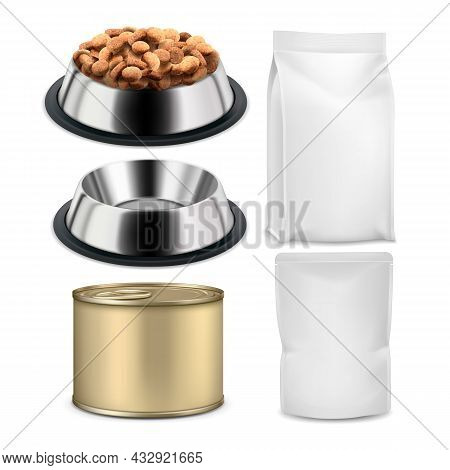 Pet Food Plate And Blank Bags Packages Set Vector. Pet Food In Metallic Dish, Tin Can Container And
