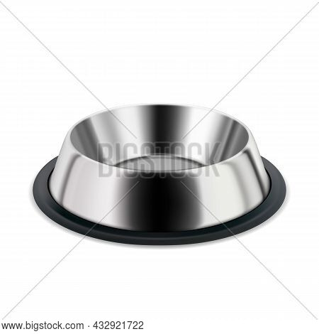 Metallic Plate For Pet Food And Water Drink Vector. Blank And Empty Steel Metal Plate For Feeding Do
