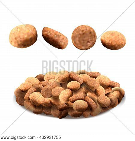 Pet Food For Feeding Hungry Dog And Cat Vector. Delicious Dry Pet Food For Feed Domestic Animal. Pup