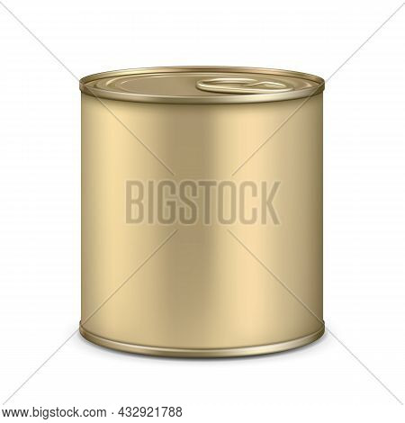 Blank Metallic Tin Can For Dairy Product Vector. Preserved Prepared Sweet Milk, Vitamin Vegetables O