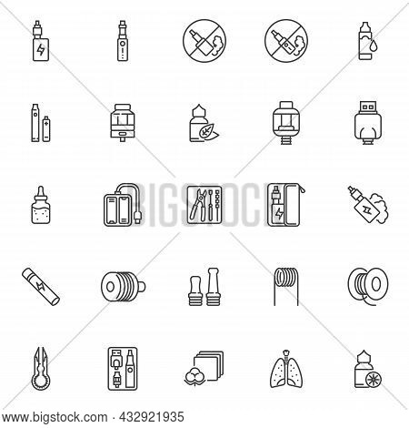 Vaping Electronic Cigarettes Line Icons Set. Linear Style Symbols Collection, Outline Signs Pack. Va