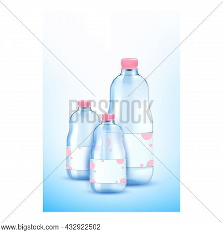 Mineral Water Creative Promotional Poster Vector. Mineral Water For Kids Blank Bottles Packages On A