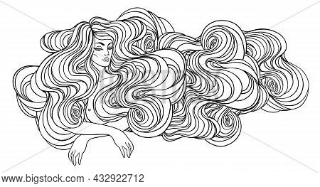 Tribal Fusion Boho Diva. Beautiful Divine Girl With Long Curly Hair. Bohemian Goddess. Hand Drawn Or