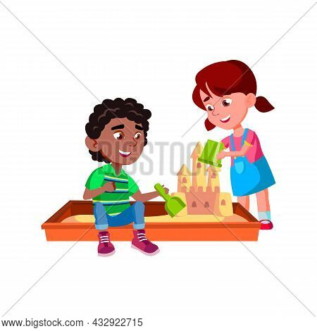 Children Building Sandy Castle In Sandbox Vector. African Boy With Scoop And Caucasian Girl With Buc
