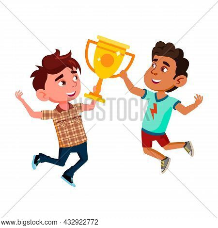 Boys Kids Celebrating Victory Together Vector. Caucasian And Hispanic Guys Preteen Children Jumping