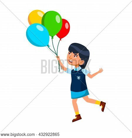 Kid Girl Playing With Helium Balloons Bunch Vector. Asian Child Play With Multicolored Air Balloons