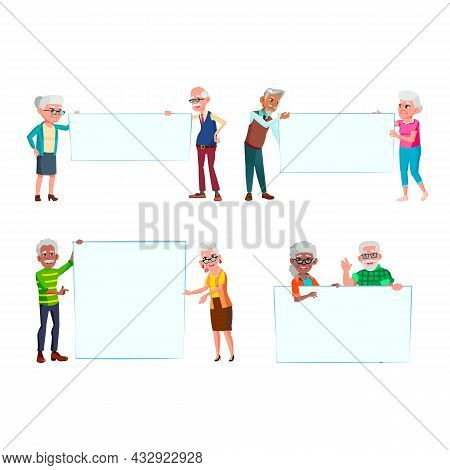 Old Man And Woman People With Banners Set Vector. Elderly Grandfather And Grandmother Holding Blank