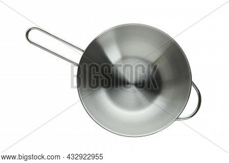 Empty Metal Saucepan Isolated On White Background