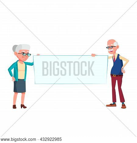 Man And Woman Senior Holding Blank Banner Vector. Caucasian Cheerful Grandfather And Grandmother Hol
