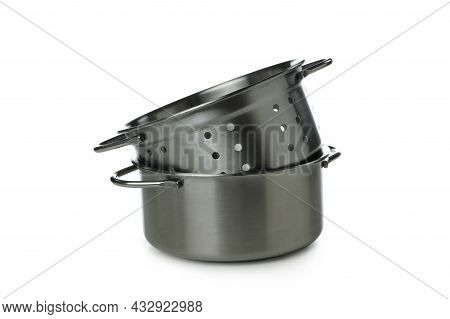 Metal Pot With Colander Isolated On White Background