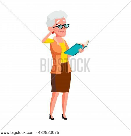 Sad Elderly Woman Reading Book In Library Vector. Sadness Old Lady Standing And Read Story Book. Fru