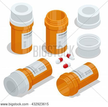 Isometric Pills And Medicine Bottles. Medicine Pills Capsules And Bottles.