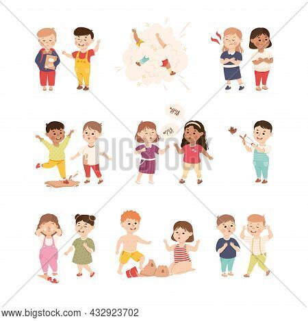 Offensive Kids Bullying And Abusing The Weak Agemate Teasing And Laughing At Them Vector Set