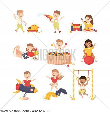 Smiling Children Playing And Having Fun Bouncing On Ball And Pulling Toy Car Vector Set