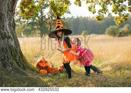 Two Two-and Five-year-old Girls Are Laughing Merrily Sitting On A Broom Under A Large Oak Tree Trunk