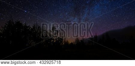 Beautiful Night Sky Colors. Colorful Night Sky And Trees. Night Scene In Bog Under Sky Of Stars
