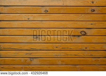 Background From Lining Boards With Many Knots And Peeling Paint. Horizontal Image.