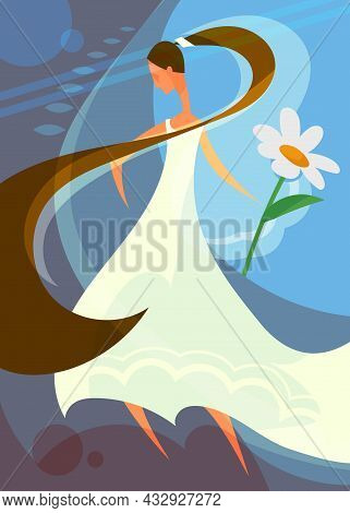 Wedding Poster With Bride Holding Flower. Postcard Design In Cartoon Style.