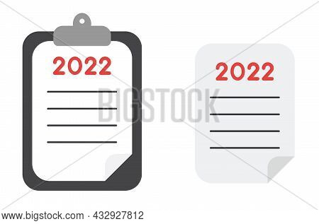 New Year Vector Concept, Clipboard And Paper, Article About 2022. Flat Colored Style.