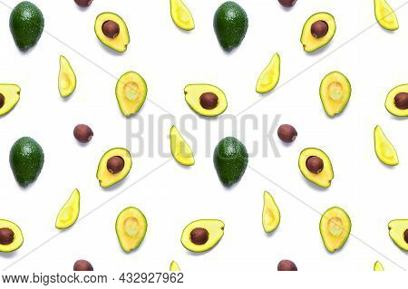 Avocado Seamless Pattern. Background Made From Isolated Avocado Pieces On White Background. Flat Lay
