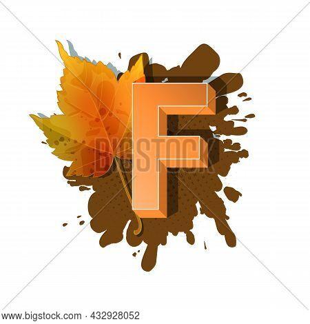 Autumn 3D Pop Art Alphabet - Colorful Bold Letter F