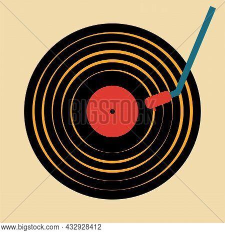 I Love Vinyl Retro Turntable Vector Design On A Retro Background