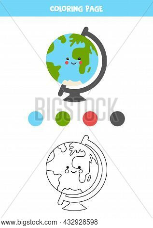 Coloring Page With Cute Globe. Worksheet For Children.
