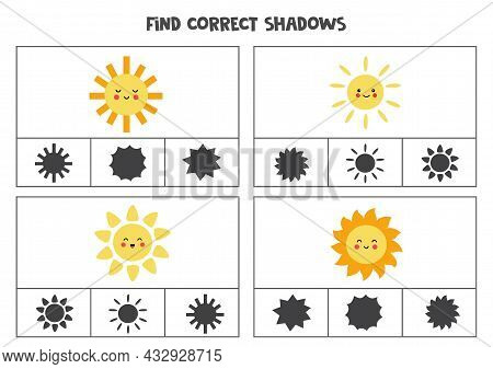 Find The Correct Shadows Of Pictures. Clip Cards For Preschool Kids. Cute Sun.