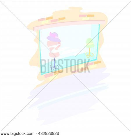 Shop Window With Mannequin And Hat, Isolated Object On White Background, Cartoon Illustration, Vecto