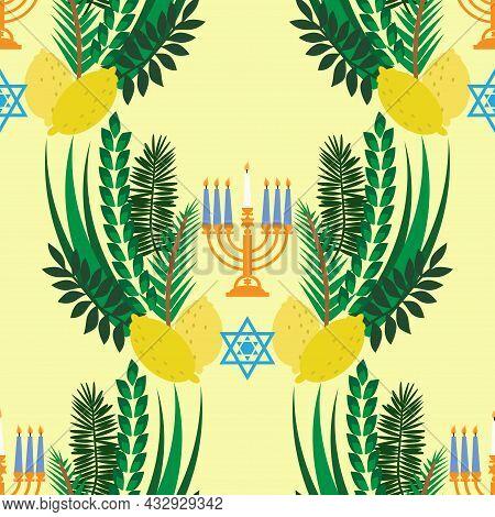 Happy Sukkot Seamless Pattern Jewish Feast Of Tabernacles With Sukkah, Lemon, Etrog, Lulav, Arava, H