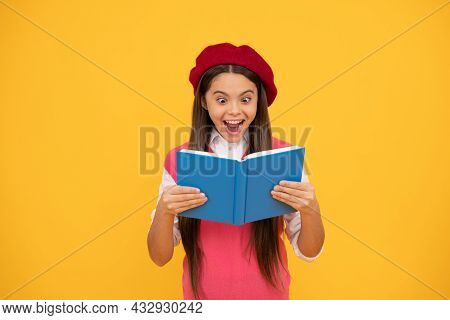 Unbelievable. Back To School. Surprised Kid In Beret Ready To Study. Amazed Child Reading Book.