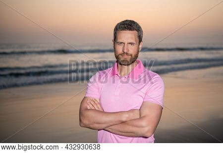 Face Portrait Of Handsome Man Over The Sea On Sunset Summer Beach, Maldives
