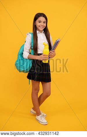 Drinking Water. Smiling Kid Going On Lunch. Teenager Student Hold Planner Notebook.