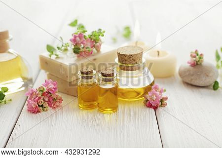 SPA still life. herbs, flowers, pebbles, aromatherapy candle, essential oil and bath products