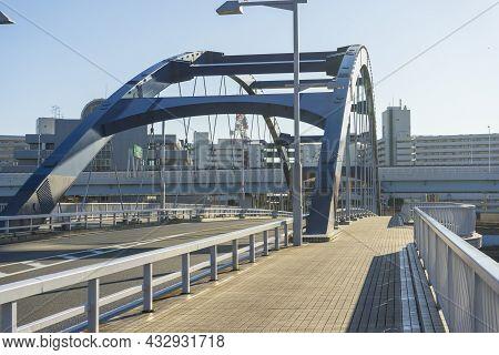 Tokyo, Japan - January 5,2020 : The Modern Metropolitan Expressway Rte No.6 Near Sumida River In Tok