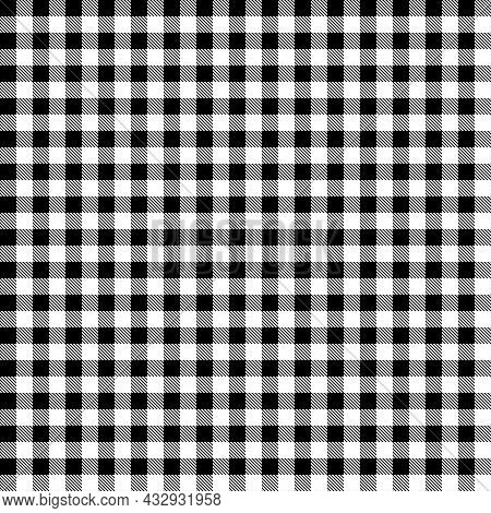 Black And White Tartan Plaid Scottish Seamless Pattern. Texture For Tartan, Plaid, Tablecloths, Shir