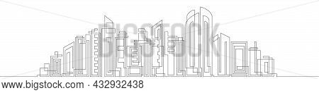 Architecture Panoramic Landscape.drawing Of Skyscrapers, Buildings.modern Cityscape Continuous One L