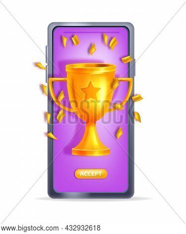 Online Reward 3d Vector Concept, Bonus Gift Referral Prize, Winner Cup, Smartphone Screen. Promotion