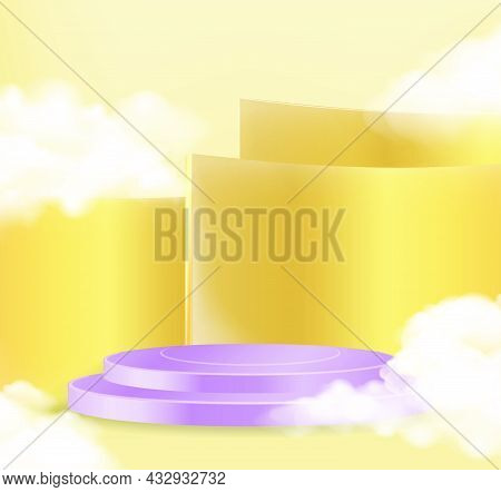 Minimal Scene With Purple Podium And Cloud Abstract Gold Background Scene Studio Or Pedestal For Dis