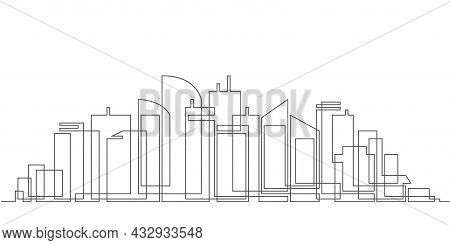 Modern Cityscape Continuous One Line .city Skyscrapers .architecture Panoramic Landscape.drawing Of