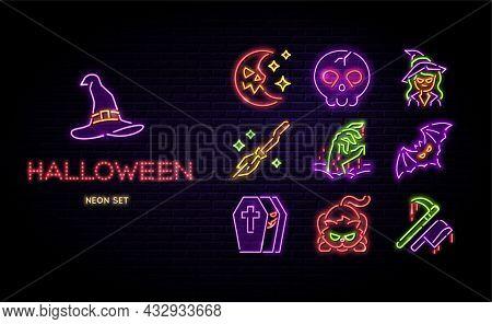 Halloween Neon Icons Vector Set. Happy Halloween Glowing Light Line Signs Isolated On Dark Brick Wal