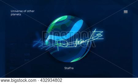 Neon Art Animation Of Another Planet. Motion. Art Model Of Planet In Electronic Form With Data. Newl