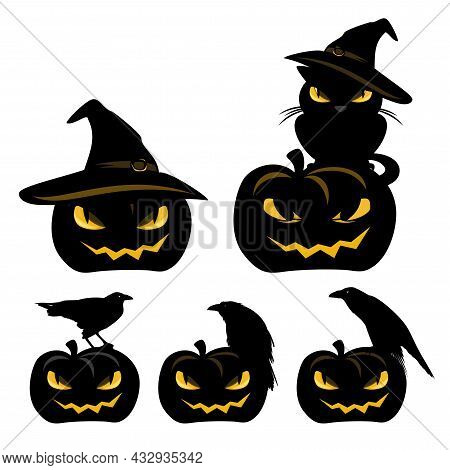 Set Of Halloween Jack-o-lantern Pumpkins With Raven Birds And Sitting Black Cat - Spooky Witchcraft