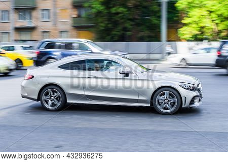 Moscow, Russia - August 2021: Mercedes-benz C-class C205 Coupe In Motion On The Street. It Is A Line